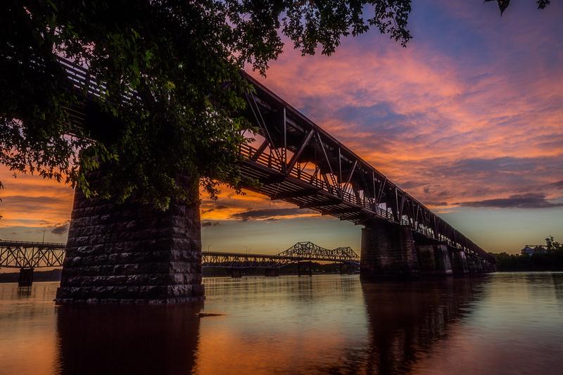 Firey Sunset at The Old Railroad Bridge